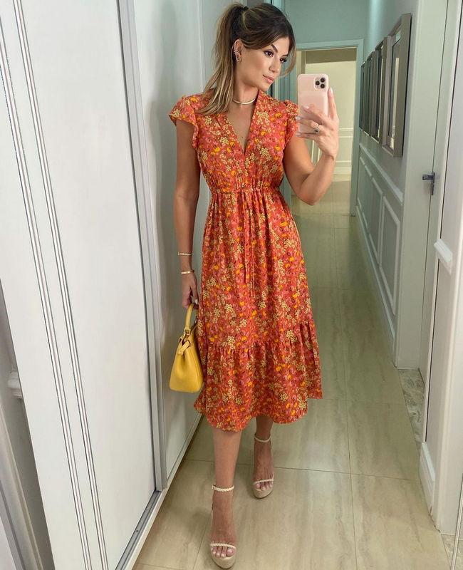 Vestido Midi com Amarracao e Estampa Floral Liberty Donna Ritz