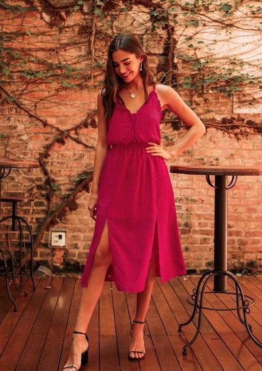 Vestido Midi com Decote em V e Fenda Dupla Frontal Donna Ritz