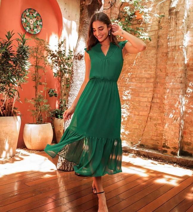 Vestido Midi com Detalhe na Pala em Lastex e Decote em V Donna Ritz