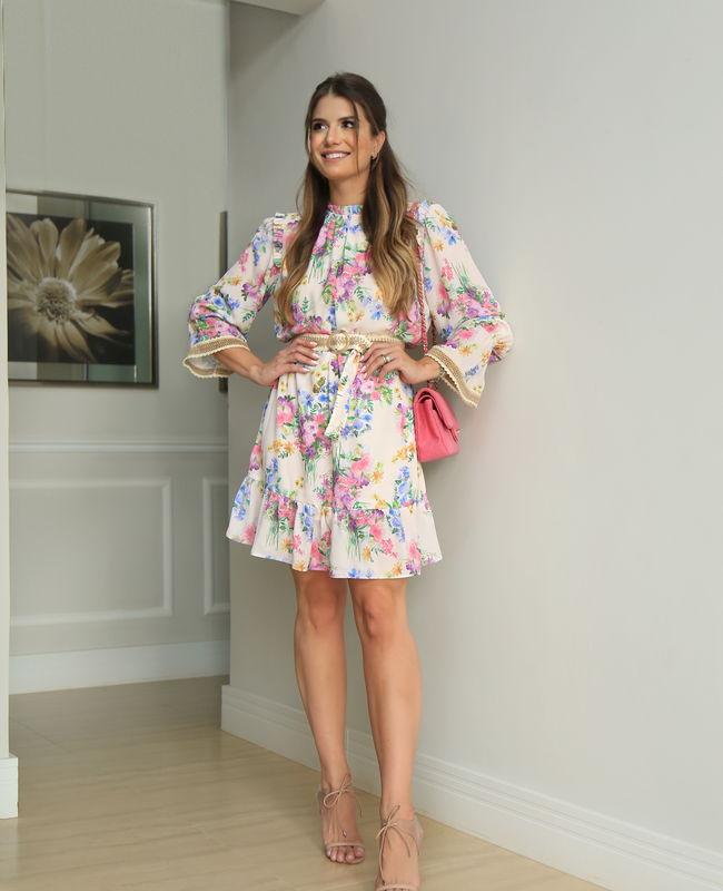 Vestido Midi com Estampa Floral e Cinto com Renda no Punho Unique Chic
