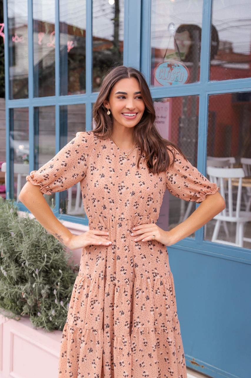 Vestido Midi com Estampa Liberty Donna Ritz
