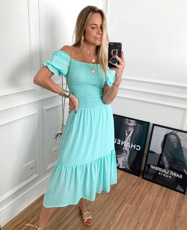 Vestido Midi Crepe Vichy com Lastex