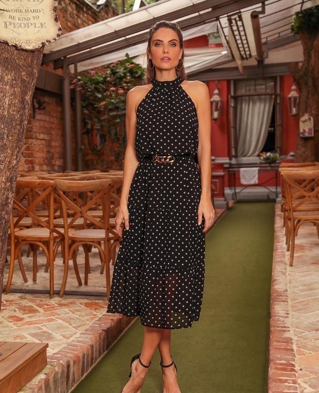 Vestido Midi em Chiffon com Estampa de Poas Donna Ritz