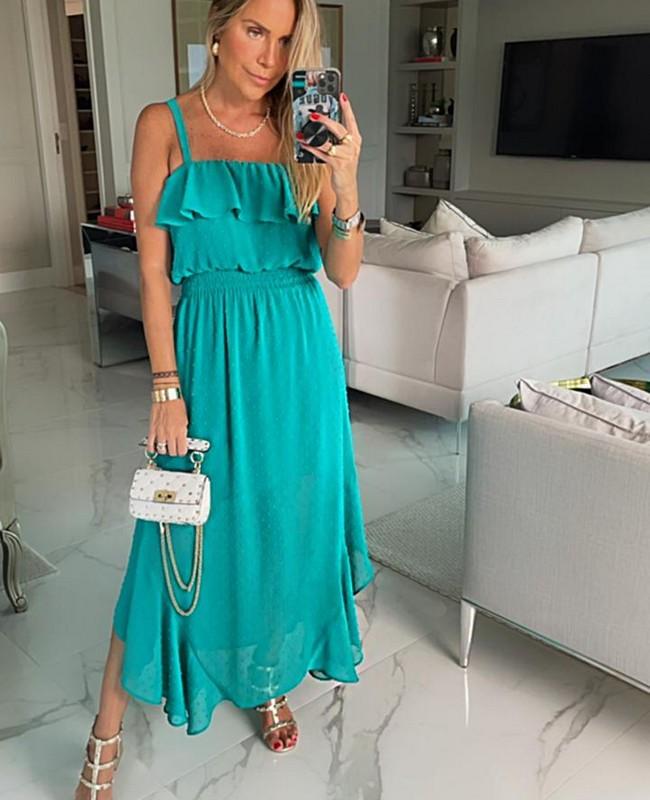Vestido Midi em Chiffon com Mini Poas Donna Ritz