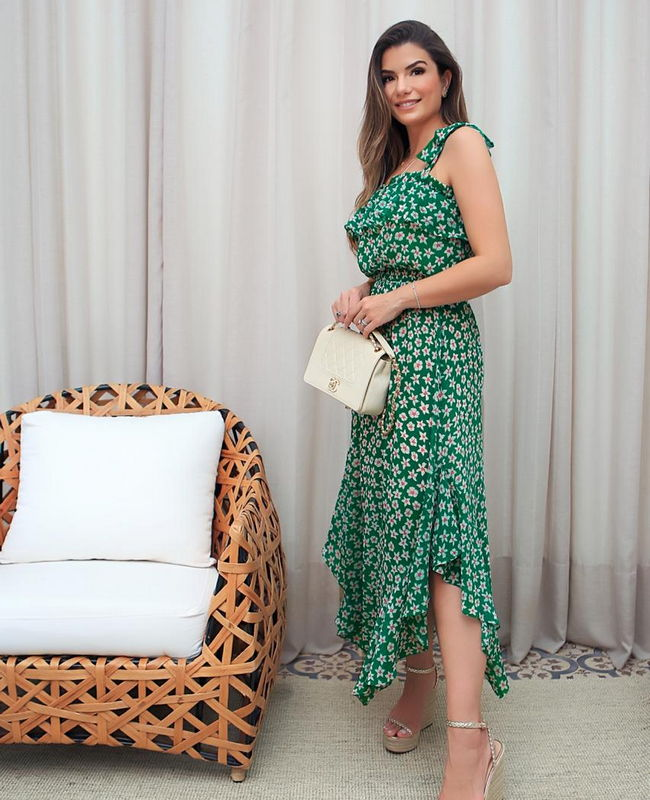 Vestido Midi em Chiffon Estampado Donna Ritz