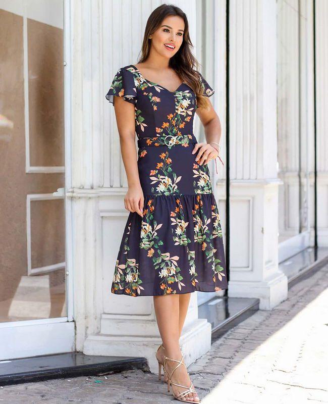 Vestido Midi em Crepe Floral Doce Flor