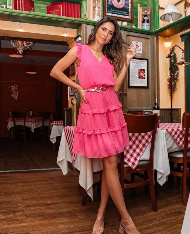 Vestido Midi em Poas com Decote em V Donna Ritz