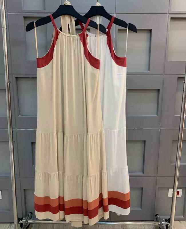 Vestido Midi em Viscose com Listras Aramodu