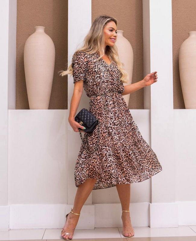Vestido Midi Estampa Animal Print com Decote V Donna Ritz