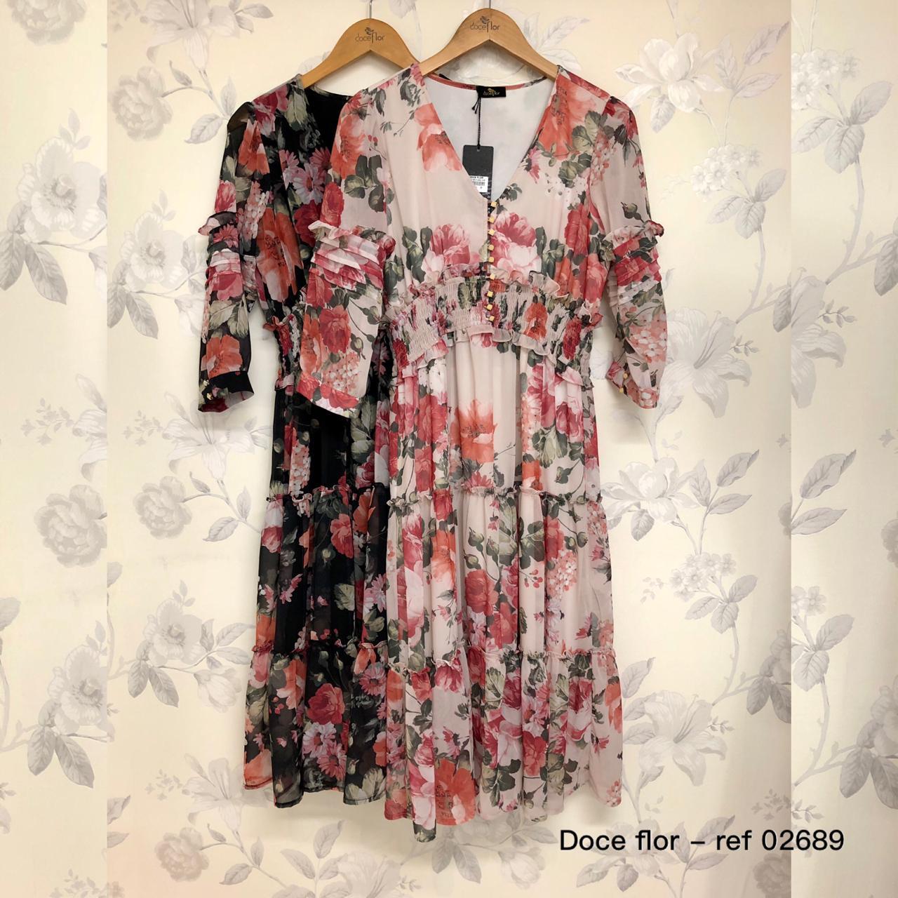 Vestido Midi Floral com Babados em Crepe Doce Flor
