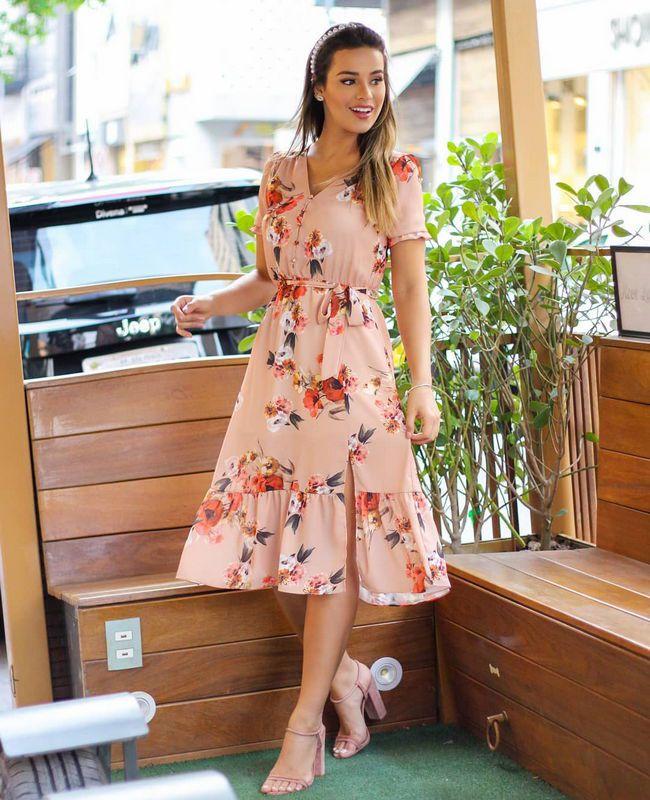 Vestido Midi Floral em Crepe com Faixa Doce Flor