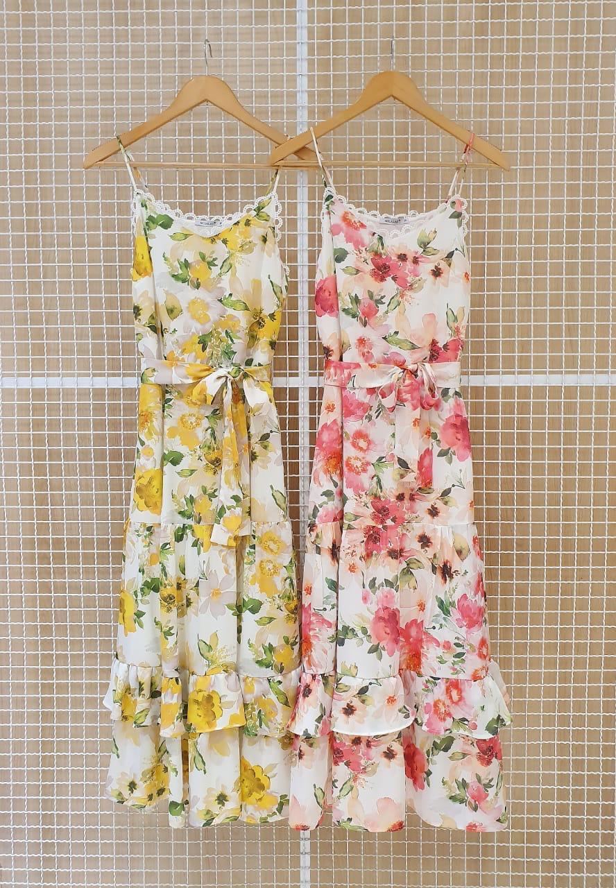 Vestido Midi Floral em Crepe com Rendas Milalai