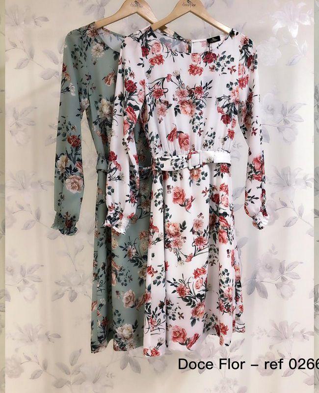 Vestido Midi Floral Manga Longa Doce Flor