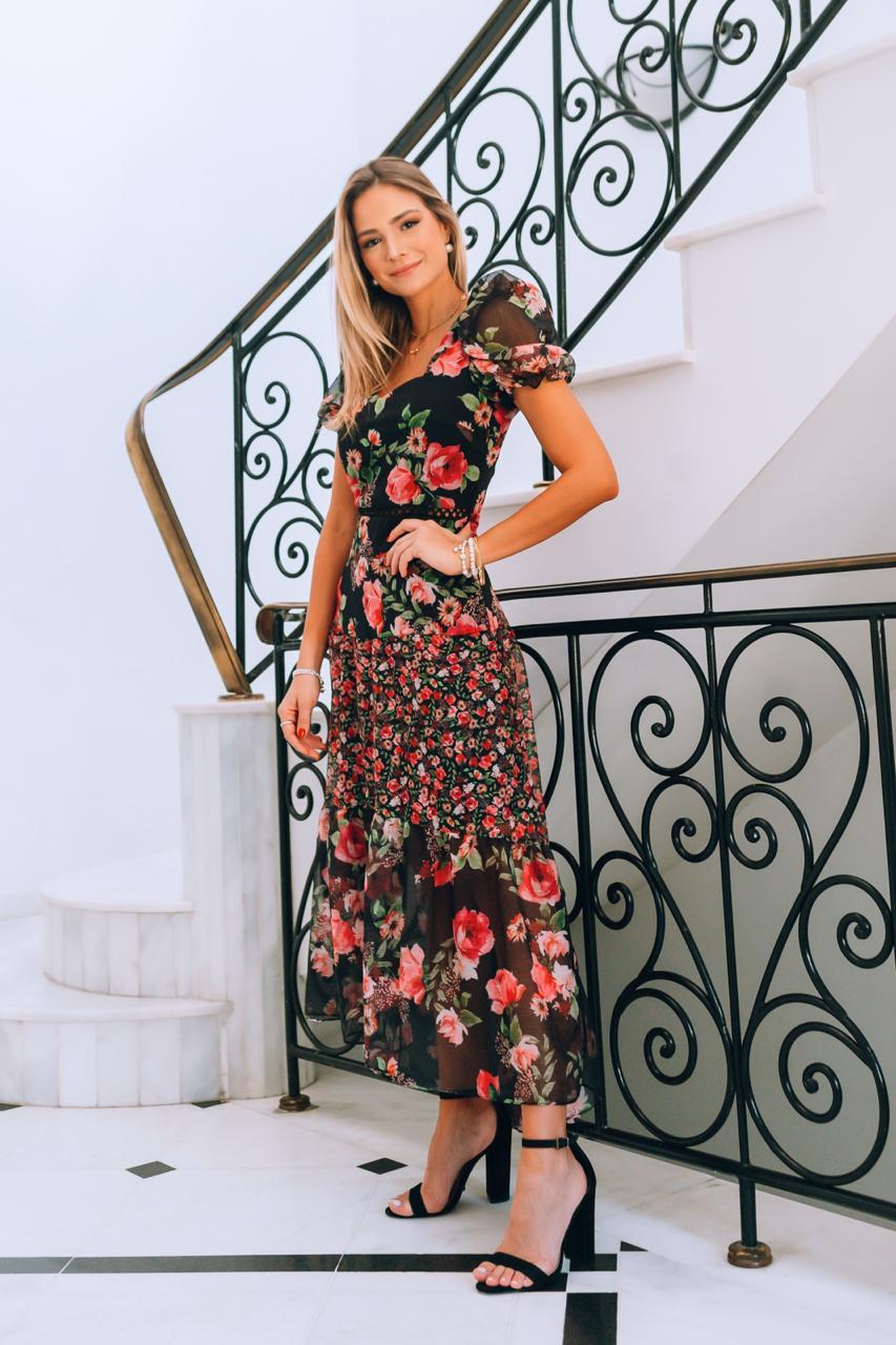 Vestido Midi Floral Milalai em Crepe com Renda