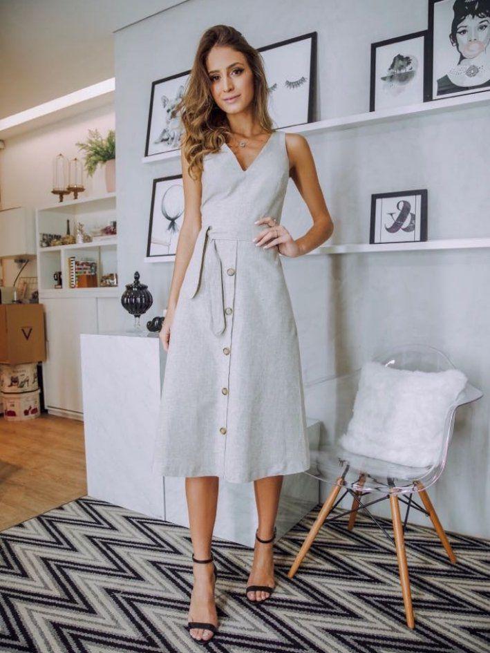 Vestido Midi Linho Xadrez Donna Ritz