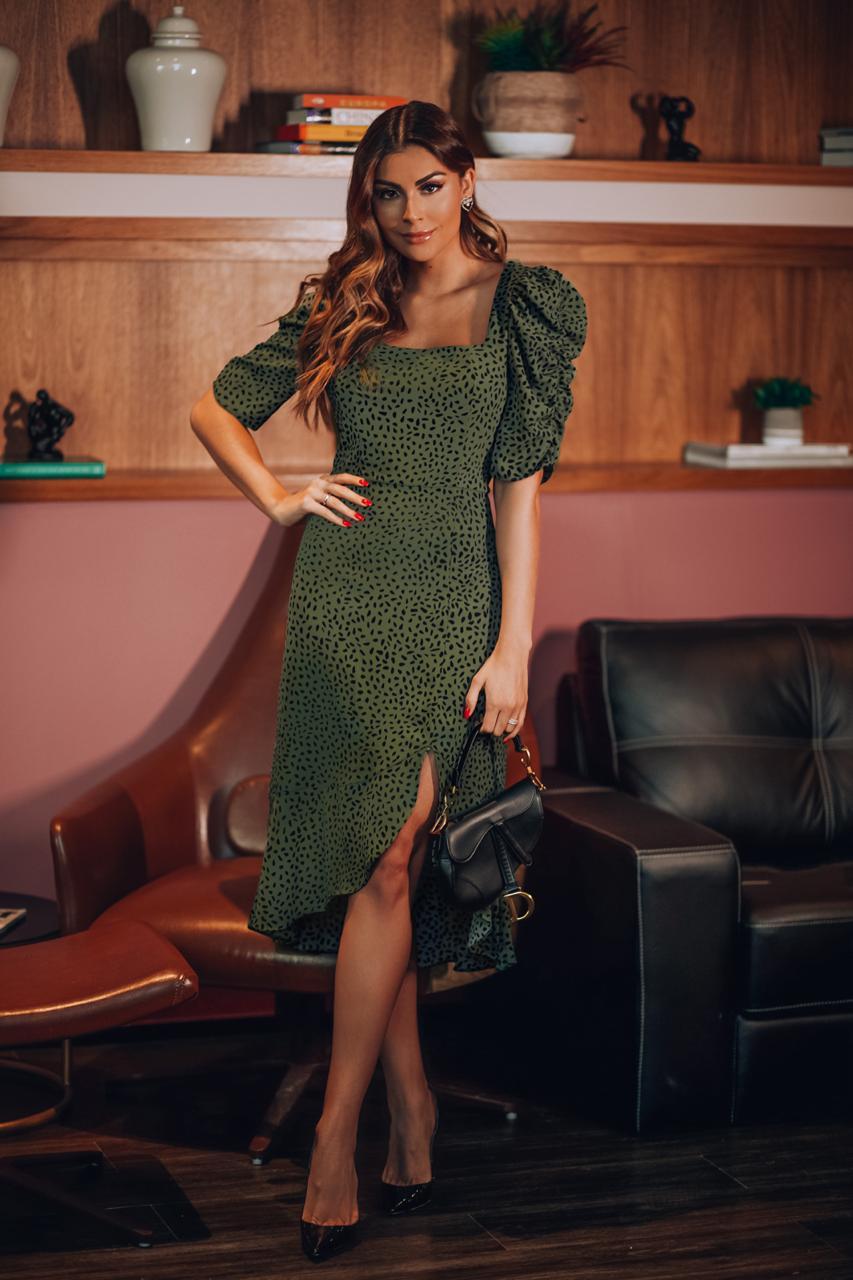 Vestido Midi Poas em Crepe Donna Ritz