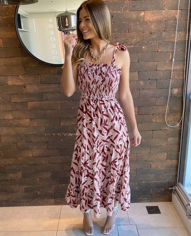 Vestido Midi Print Floral Unique Chic