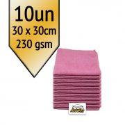 Akora Flanela de Microfibra Rosa 30x30 - 230gsm Kit 10un