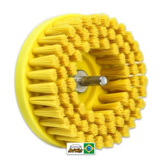 Escova  Amarela Agressiva Drill com Adaptador Detailer