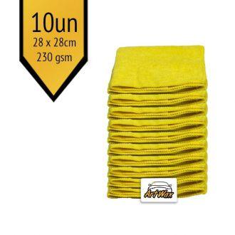 Pano de Microfibra Mandala Amarelo 28x28cm  230gsm kit 10un