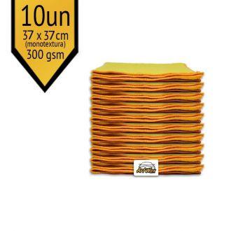 Pano de Microfibra Mandala Amarelo 37x37cm - 10UN 300gsm (Monotextura)