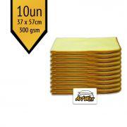 Pano de Microfibra Mandala Amarelo 37x57cm - 10un - 300gsm