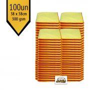 Pano de Microfibra Mandala Amarelo 38x38cm - 100un - 300gsm