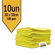 Pano de microfibra Mandala Amarelo 38x38cm - 10un 300gsm