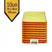 Pano de Microfibra Mandala Amarelo 38x38cm - 10un - 300gsm