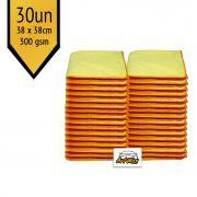 Pano de Microfibra Mandala Amarelo 38x38cm - 30un - 300gsm