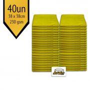 Pano de Microfibra Mandala Amarelo 38x38cm - 40un - 230gsm