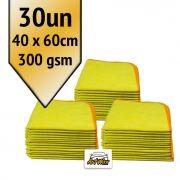 Pano de Microfibra Mandala Amarelo 40x60cm - 300gsm Kit 30un