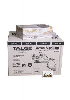 Talge Luva Nitrilica sem talco Preta Tamanho M - 100un - 10 caixas