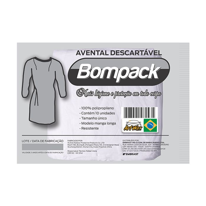 Bompack Avental Descartavel TNT C/10