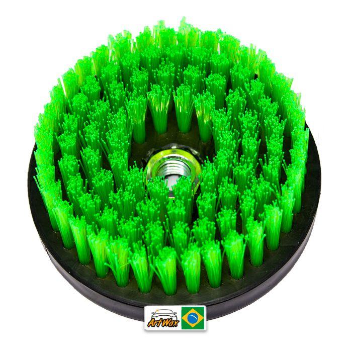 Escova de Estofados Spin Agressiva Verde 120mm For Detail - Rosca 5/8