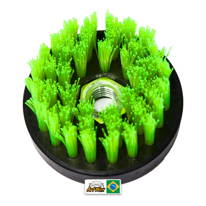 Escova de Estofados Spin Agressiva Verde 80mm For Detail - Rosca 5/8