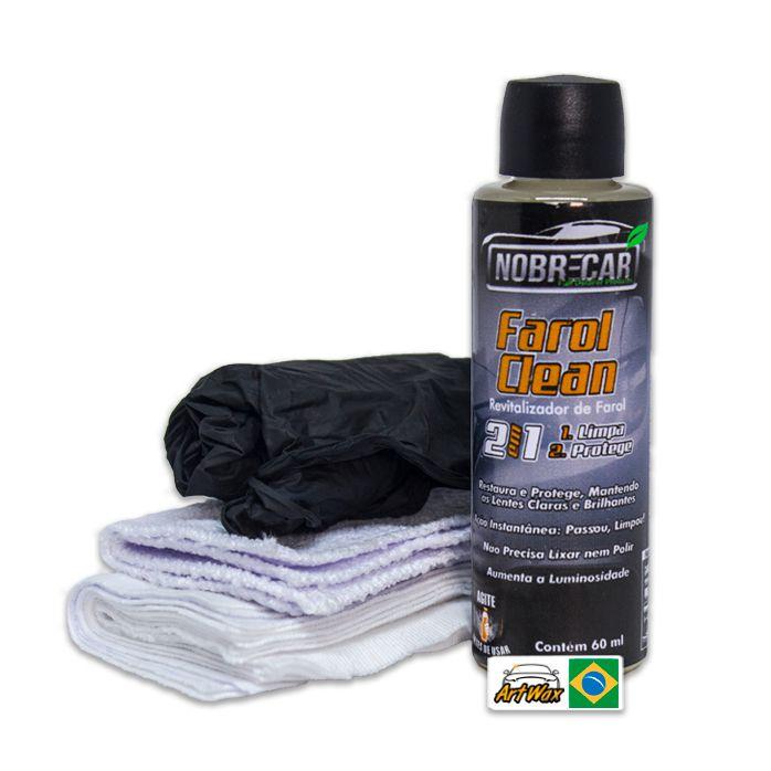 Farol Clean 2 em 1  60ml - Limpa e Protege Faróis Nobre Car