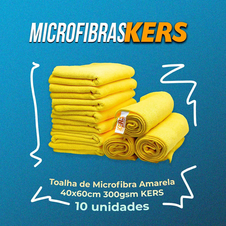 Kers Toalha de Microfibra Amarela 40x60cm 300gsm - 10unidades