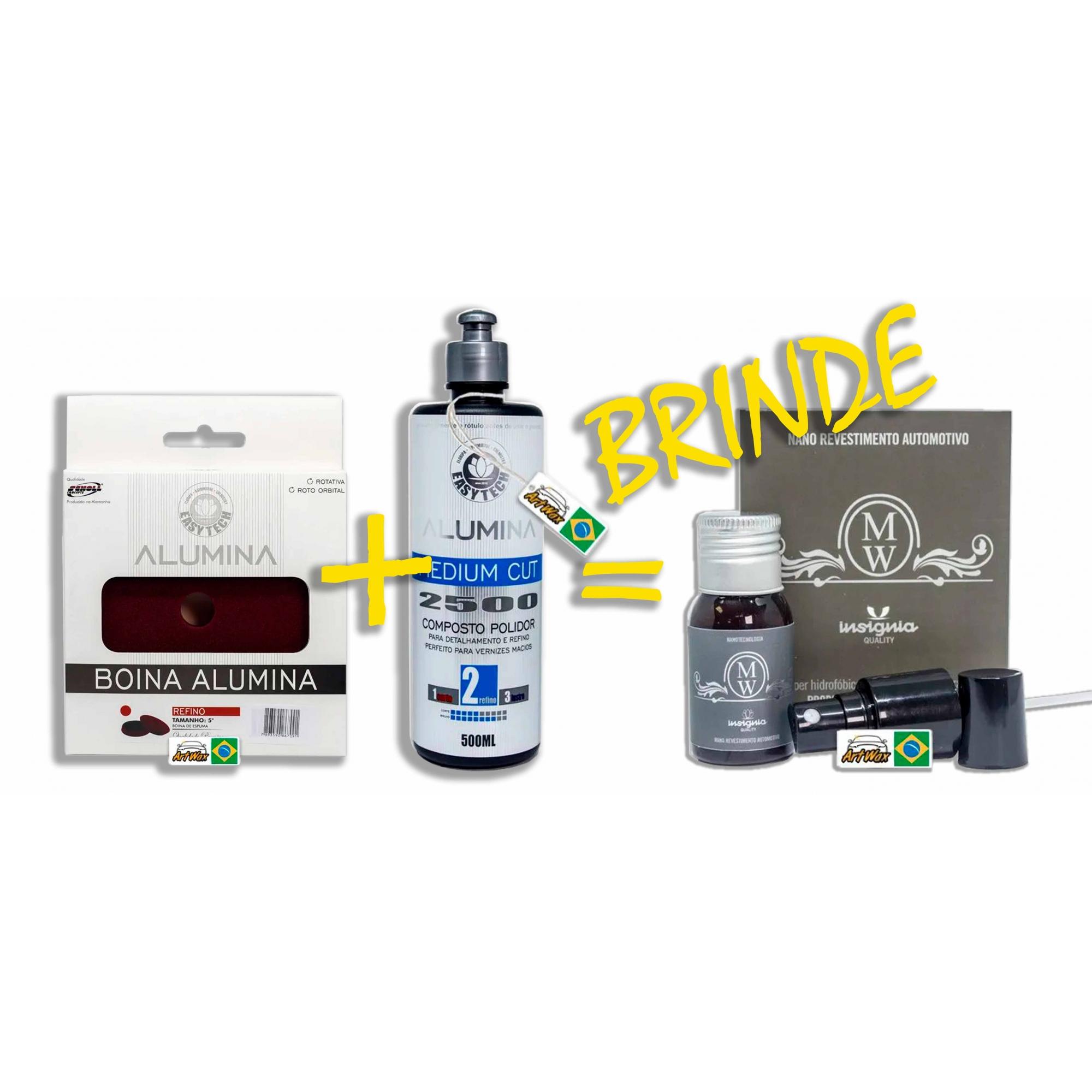 Kit Alumina Medium Cut + Boina Alumina Refino 140mm - Brinde Insignia Motors Wash 30ml Easytech