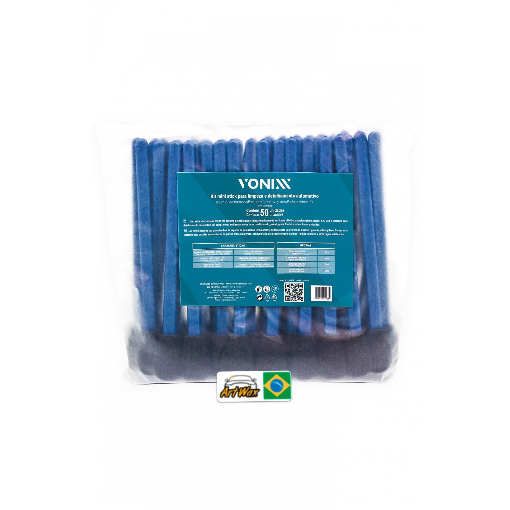 Kit Mini Stick Redondo Para Detalhamento Locais Pequenos Vonixx - 50 Peças