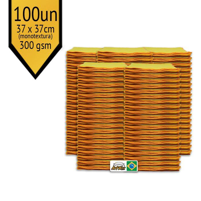 Pano de Microfibra Mandala Amarelo 37x37cm - 100UN 300gsm (Monotextura)