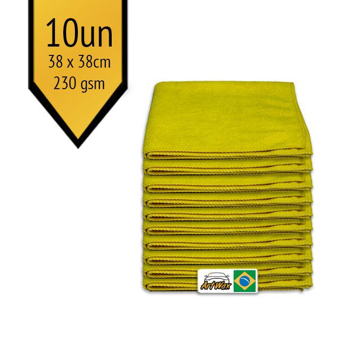 Pano de Microfibra Mandala Amarelo 38x38cm - 10un - 230gsm