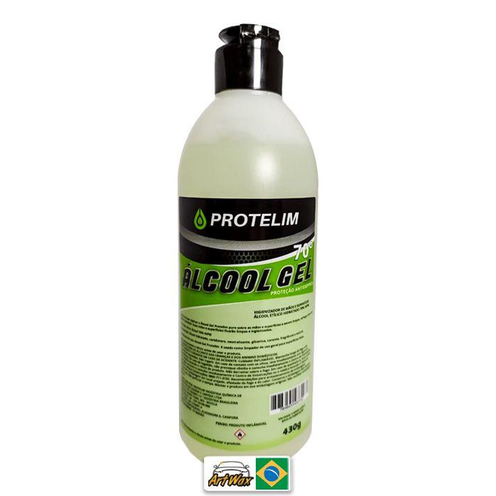 Protelim Álcool Em Gel 430g - Higienizador de Mãos e Superfícies 70%