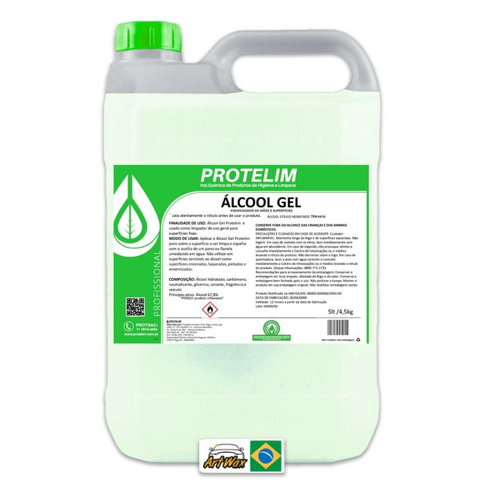 Protelim Álcool Em Gel 5l - Higienizador de Mãos e Superfícies 70%