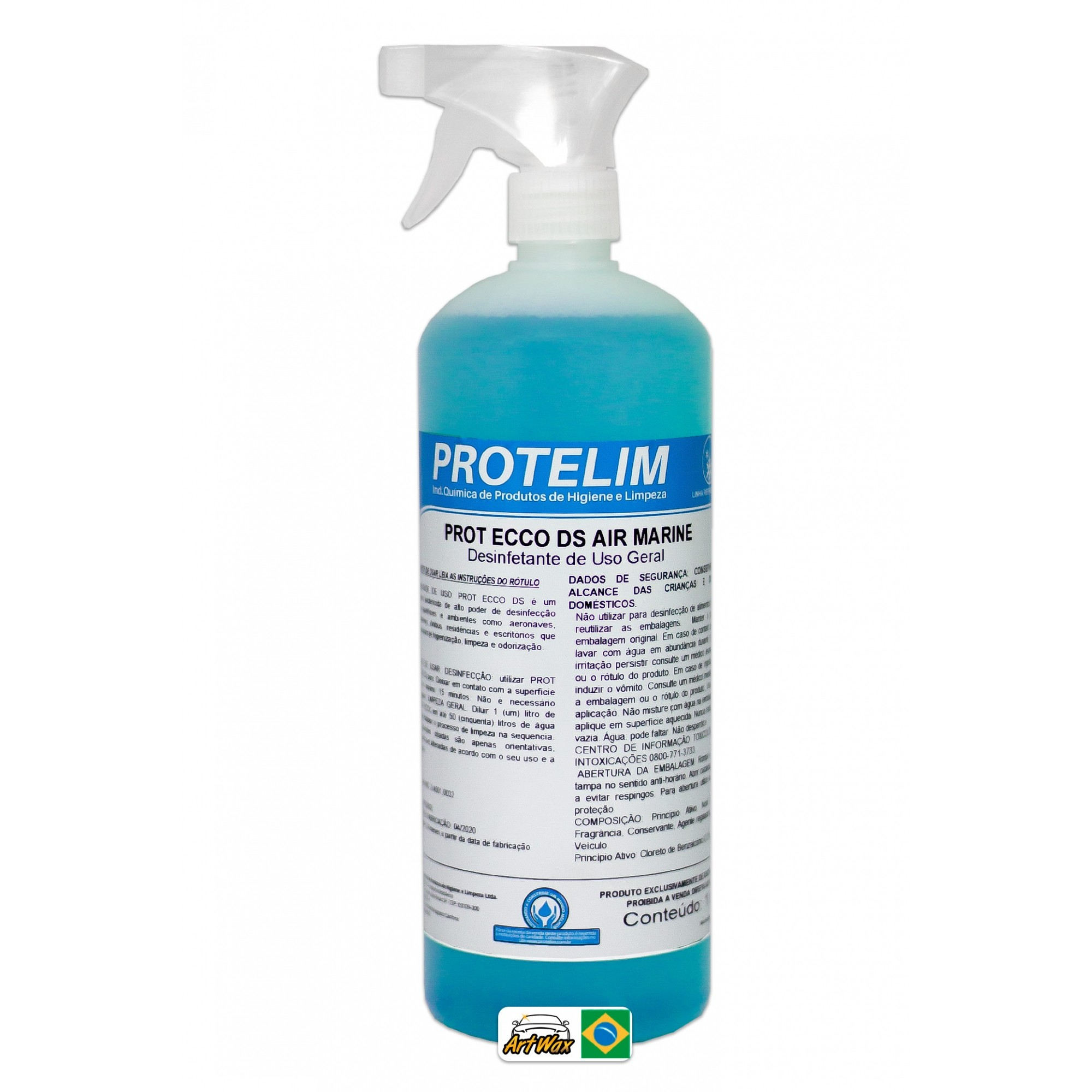 Protelim Prot Ecco Ds Air Marine Spray 1L - Desinfetante Bactericida De Uso Geral