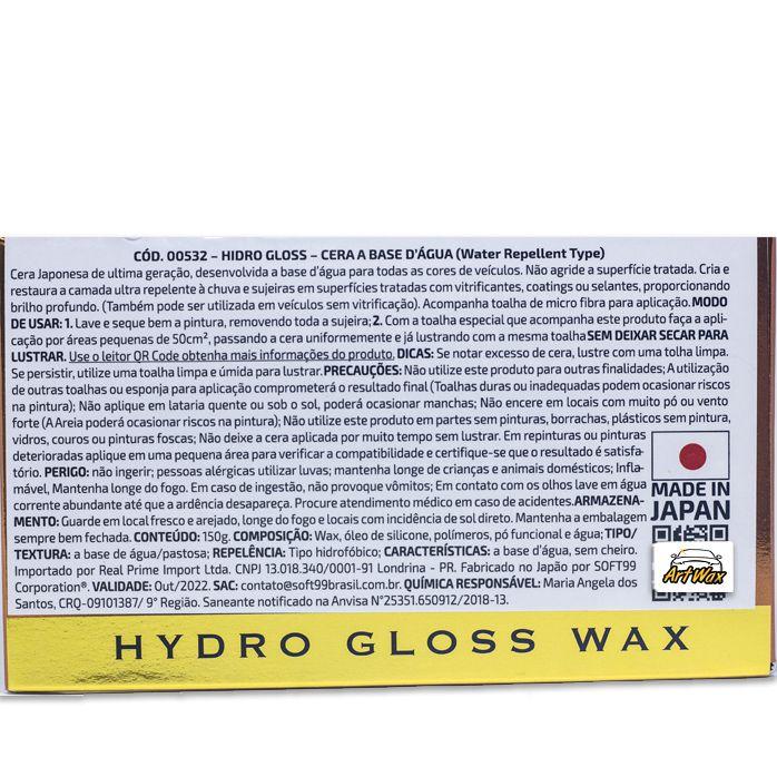 Soft99 Cera a Base D'Agua Para Superficies Vitrificadas Hydro Gloss 150g