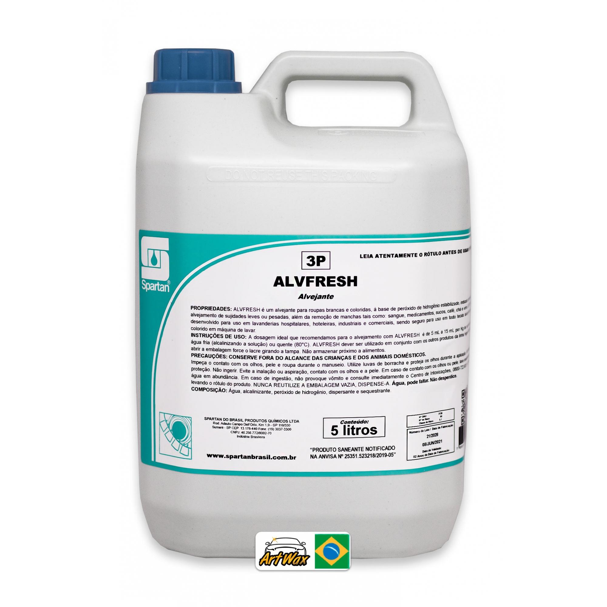 Spartan Alvfresh 5L - Alvejante Tecidos Brancos e Coloridos à Base de Peroxido de Hidrogênio