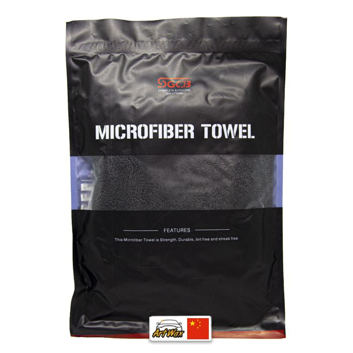 Toalha de microfibra preta polish 380gsm - 40x40cm sgcb