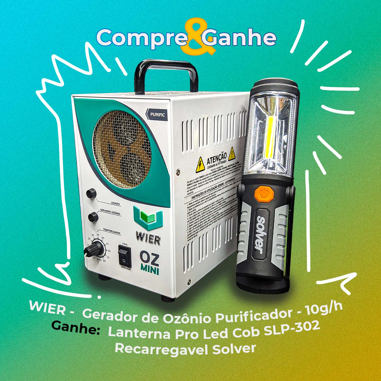 Wier Gerador de Ozônio Purific 10g/h + Brinde Lanterna Pro Led Cob SLP-302 Solver