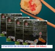 Alga Nori 4 Pacotes C/ 50 Folhas - (total: 200 Folhas)